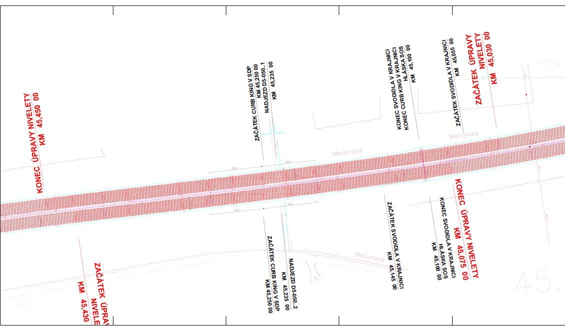 D5 oprava AB vozovky - situace stavby - úpravy klopení 2