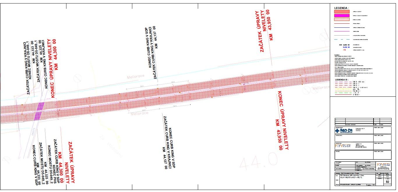 D5 oprava AB vozovky - situace stavby - úpravy klopení 3